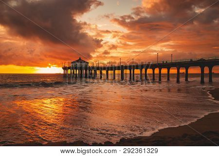 Another Gorgeous Orange And Red Sunset Over The Pacific Ocean Next To The Manhattan Beach Pier Near