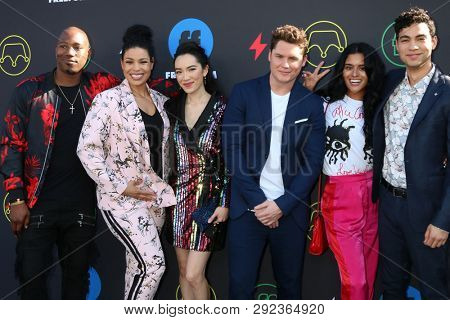 LOS ANGELES - MAR 27:  Kris Lofton, Jordin Sparks, Jessika Van, Matt Shively, Gigi Zumbado, Davi Santos at the 2nd Annual Freeform Summit at the Goya Studios on March 27, 2019 in Los Angeles, CA