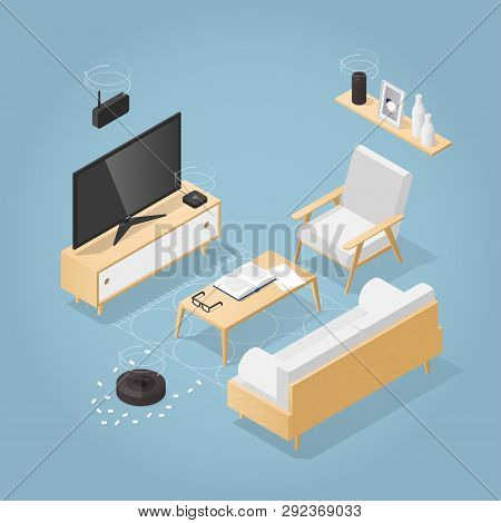 Vector Isometric Smart Home Concept Illustration. Living Room In Mid Century Style Full Of Smart Hom