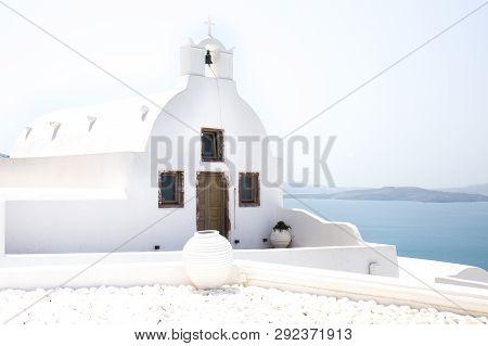 White Santorini Vacation Stark Water Clean Quaint