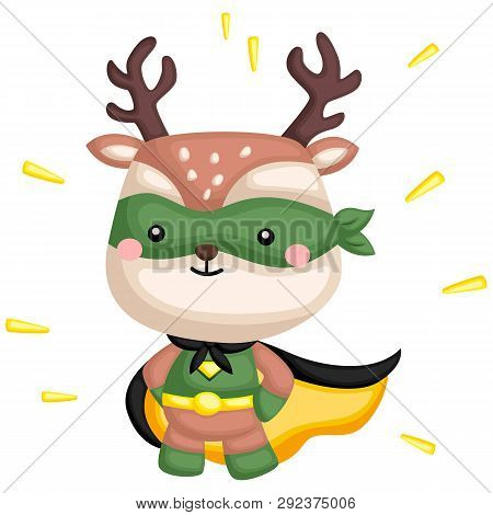 A Vector Of A Cute Deer In A Superhero Costume