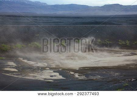 Dust storm at Skeidararsandur  outwash plain or sandur, a vast expanse of glacial sediments in Eastern Iceland Scandinavia