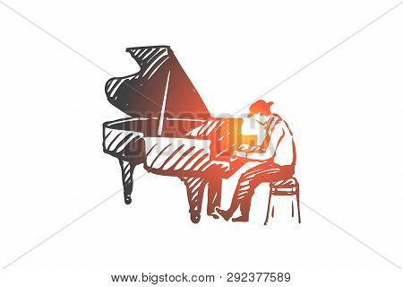 Musician, Jazz, Piano, Performance, Music Concept. Hand Drawn Jazz Musician Playing On Piano Concept
