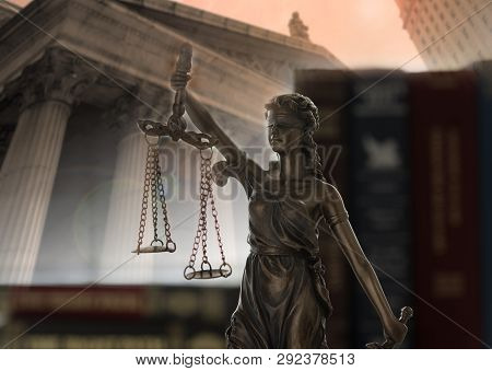 Scales Of Justice On Law Books With Court Government Background. Concept Of Justice, Legal, Jurispru