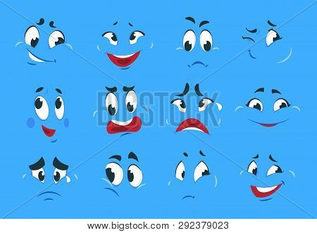 Funny Cartoon Expressions. Evil Angry Faces Crazy Character Sketches Fun Smile Comic Caricature Smil