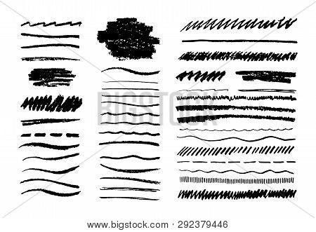 Grunge Pencil Line. Scribble Chalk Brush, Black Doodle Graphite Art Texture, Hand Drawn Sketch Eleme