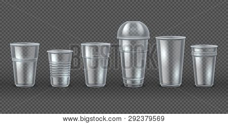 Plastic Cups. Disposal Coffee Drink Mugs Isolated Mockup, Realistic 3d Packaging For Food And Bevera