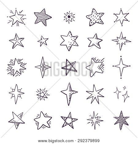 Doodle Stars. Cute Pen Sketch Space Elements, Simple Black Geometric Set, Hand Drawn Star Pattern Fo
