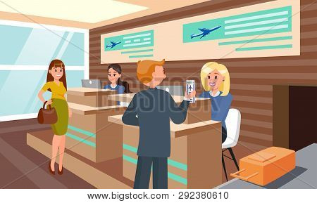 Flight Registration In Airport Flat Illustration. Passengers Can Comfortably Out Turn Checkin Boardi
