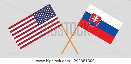 Slovakia And Usa. The Slovakian And United States Of America Flags. Official Colors. Correct Proport