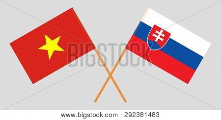 The Slovakian And Vietnamese Flags. Official Colors. Correct Proportion. Vector Illustration