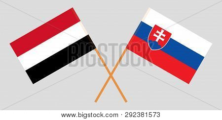 Slovakia And Yemen. The Slovakian And Yemeni Flags. Official Colors. Correct Proportion. Vector Illu