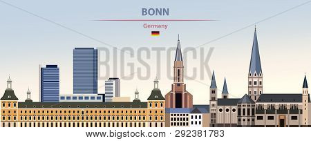 Vector Illustration Of Bonn City Skyline On Colorful Gradient Beautiful Day Sky Background With Flag