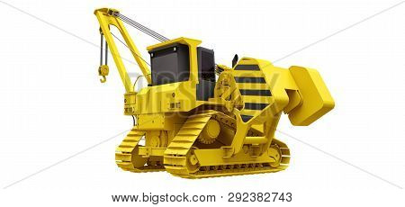 Yellow crawler crane with side boom. 3d rendering. poster