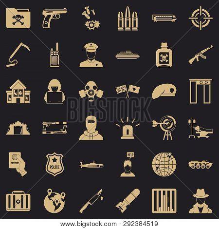 Antiterrorist Struggle Icons Set. Simple Style Of 36 Antiterrorist Struggle Icons For Web For Any De