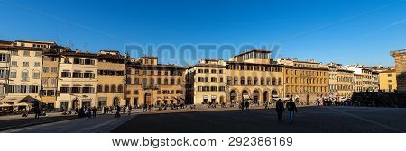 Florence, Italy - January 3, 2013: Ancient Palaces In Piazza De Pitti In Downtown Of Florence, Tusca