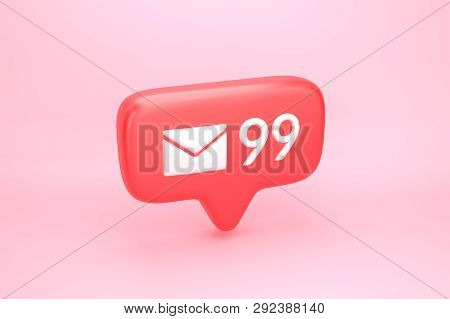 Ninety Nine Messages Social Media Notification With Letter Icon