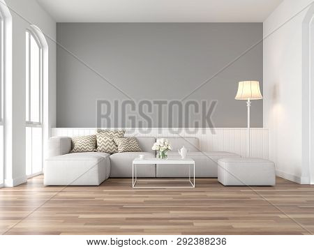 Minimal Style Vintage Living Room 3d Render,there Are Wood Floor And  Gray Wall,furnished With White