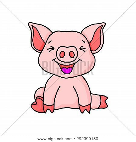 Pig Portrait On White Background. Cartoon Pig Looks Out From The Pink Hole. Pig Face. Pig Animal. Pi