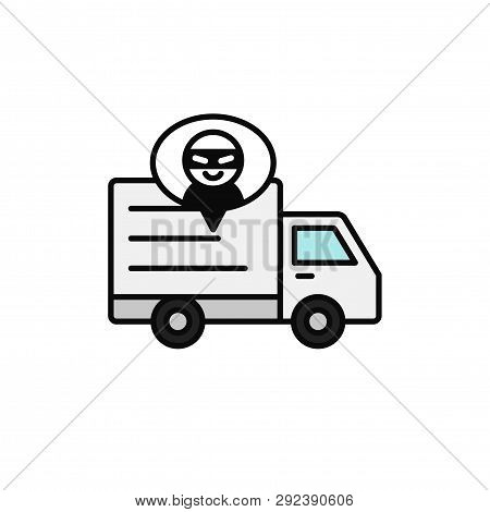 Delivery Truck Thief Icon. Shipment Item Robbed By Criminal Illustration. Simple Outline Vector Symb