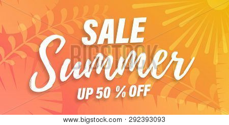 Vector Trendy Hot Summer Sale Banner. Palm Tree Leaves With Stipple Effect At Colorful Sunset Gradie