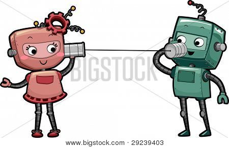 Illustration of a Pair of Robots Using Can Telephones to Talk