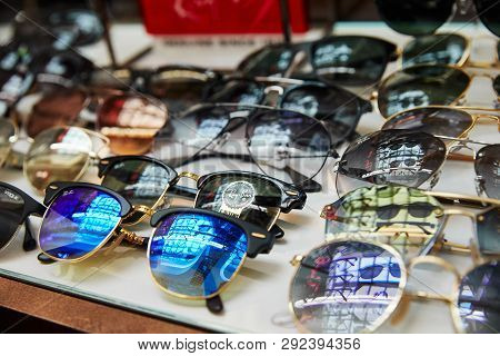 Moscow, Russia, 02.02.2019: Beautiful Ray-ban Sunglasses On Display, Great Design For