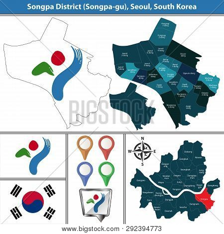 Vector Map Of Songpa District Or Gu Of Seoul Metropolitan City In South Korea With Flags And Icons