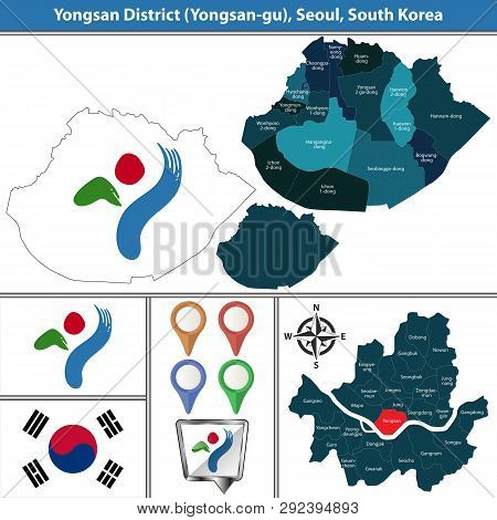 Vector Map Of Yongsan District Or Gu Of Seoul Metropolitan City In South Korea With Flags And Icons