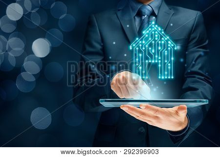 Smart Home, Intelligent House, And Home Automation App Concept. Smart House Icon With Pcb Design And