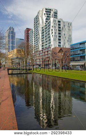 Rotterdam, The Netherlands - April 7 2018: Modern Architecure Of City Centre Of Rotterdam With Refle