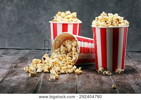 Cinema Concept With Popcorn. Sweet And Salty Popcorn