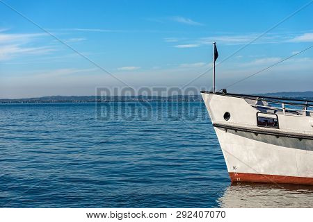 Prow Of A Ferry Boat In The Lake Garda (lago Di Garda) In Front Of The Port Of Lazise, Small Town In