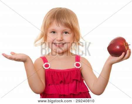 Little Girl In Red With Red Fruit