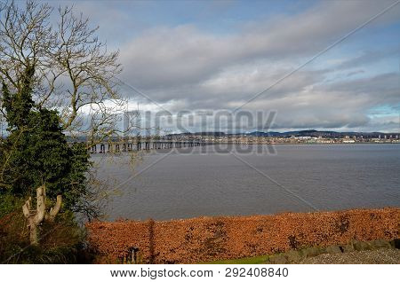 A View Of The Rail Bridge Over The River Tay From Wormit To The City Of Dundee