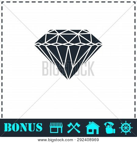 Diamond Icon Flat. Simple Vector Symbol And Bonus Icon