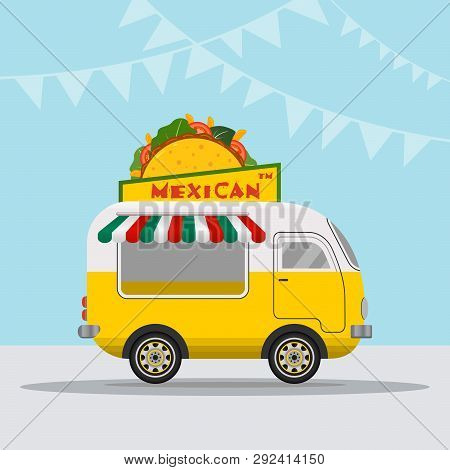 Food Truck Logotype For Mexican Food Meal Fast Delivery Service Or Summer Food Festival. Truck Van W