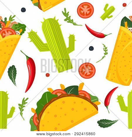 Mexican Food Seamless Pattern. Burrito, Taco, Hot Pepper And Green Lettuce. Colorful Background, Cut