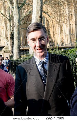 London, United Kingdom, March 29th 2019:- Conservative Member Of Parliament Jacob Rees-mogg Leading