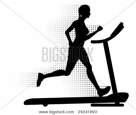 Healthy young woman running on a modern treadmill at great speed with halftone pattern motion trails. Silhouette.