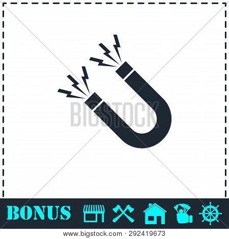 Magnet Icon Flat. Simple Vector Symbol And Bonus Icon