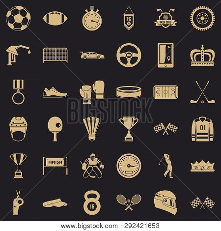 Champion Icons Set. Simple Style Of 36 Champion Icons For Web For Any Design