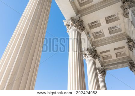 Top Detail Of Stone Greek Revival Architectural Columns