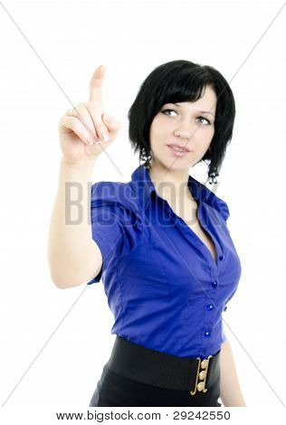 Portrait Of A Pretty Young Female Pointing At Copyspace. Isolated Over White
