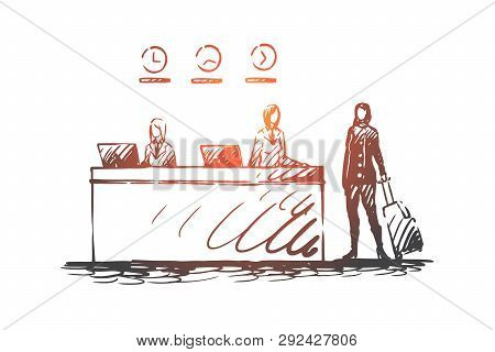 Hotel, Reception, Desk, Guest, Receptionist Concept. Hand Drawn Guest Of Hotel On Reception Concept