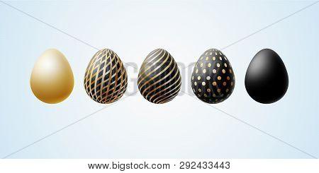 Easter Egg Set Of Elegant Modern Luxury Black Gold Easter Eggs With A Spiral Lines Pattern Specks Do