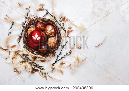 Easter Eggs In Basket,  Naturally Dyed With Onion Skins, Flowers And Herbs. Top View, Blank Space, T