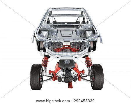 Body and suspension of the car with wheel and engine Undercarriage with bodycar in detail front view isolated on white background 3d without shadow poster