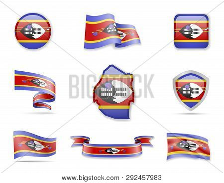 Eswatini Flags Collection. Vector Illustration Set Flags And Outline Of The Country.
