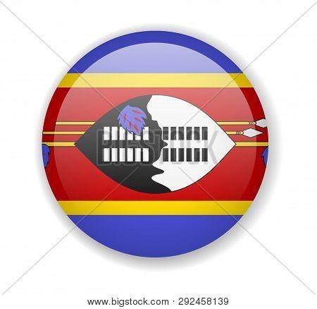 Eswatini Flag Round Bright Icon On A White Background